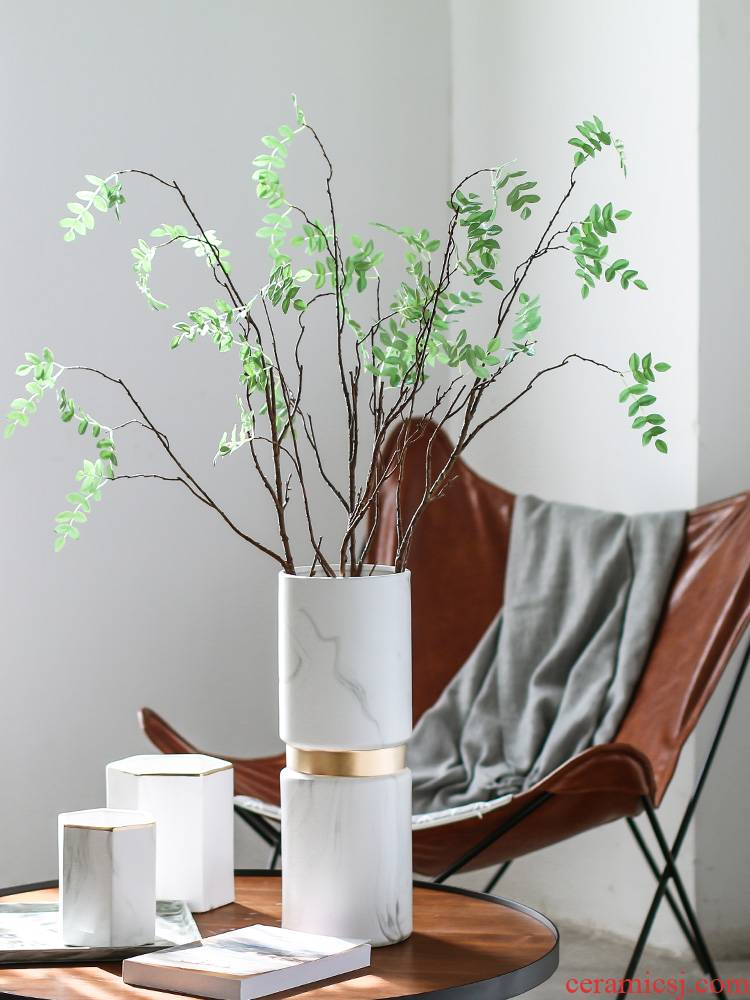 Manual marble golden light much wind Nordic modern household adornment is placed the clear soup WoGuo ceramic vase