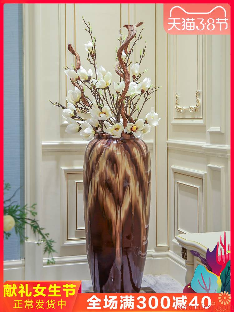 Jingdezhen ceramic floor big vase furnishing articles porch decoration dry flower simulation TV ark, put vase decoration