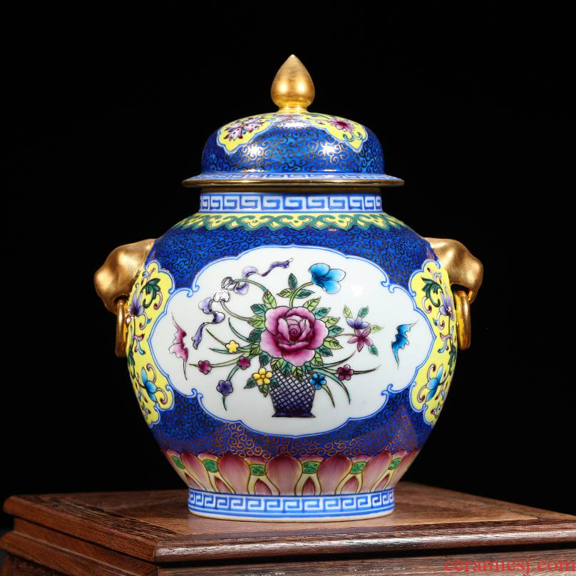 Jingdezhen ceramics archaize the qing qianlong trace golden lion ear tank enamel vase Chinese crafts are sitting room