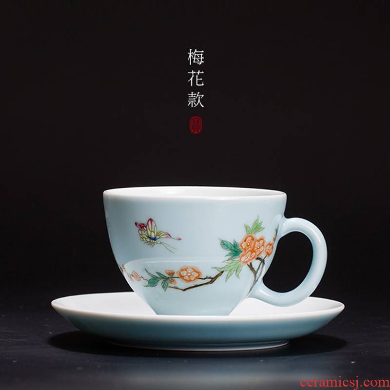 Treasure porcelain jingdezhen tea set ceramic cup bowl Lin, a single CPU hand azure famille rose tea cup coffee cups and saucers