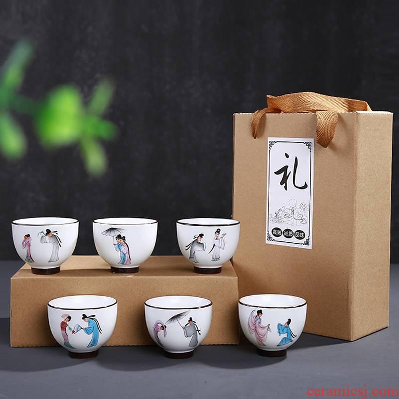 Leopard lam, 6 pack kung fu tea cups of jingdezhen ceramic tea set, cup sample tea cup household ipads porcelain white porcelain dehua