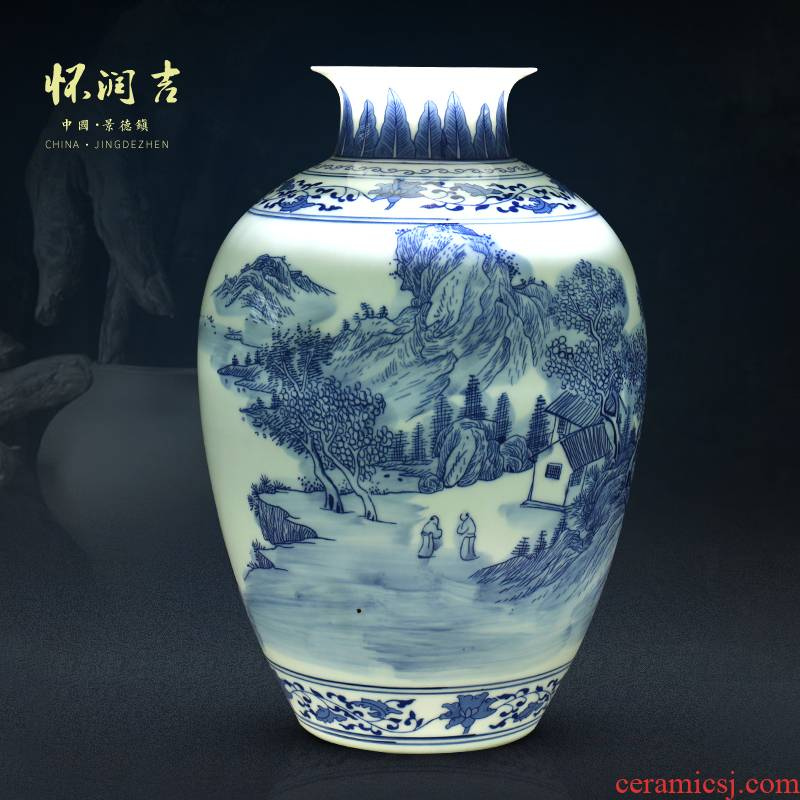 Jingdezhen blue and white landscape hand - made ceramic vase vase and exquisite porcelain antique furnishing articles furnishing articles of modern Chinese style decoration