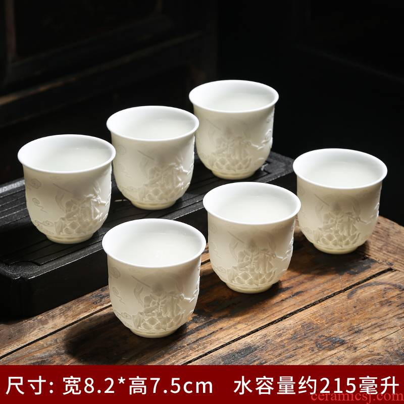 Dehua white porcelain kaolin suet white jade porcelain cups of tea a single cup of master cup kung fu tea set ceramic sample tea cup