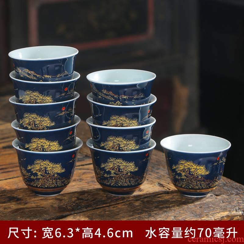 Household ceramic sample tea cup ji blue glaze porcelain craft individual cup single CPU kung fu tea cup master cup of tea