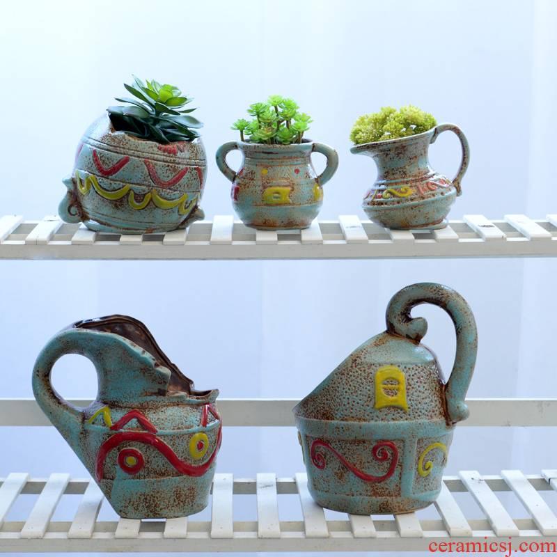 European ceramic flower pot creative move, fleshy retro mage, old money plant flower implement green asparagus palm flower pot