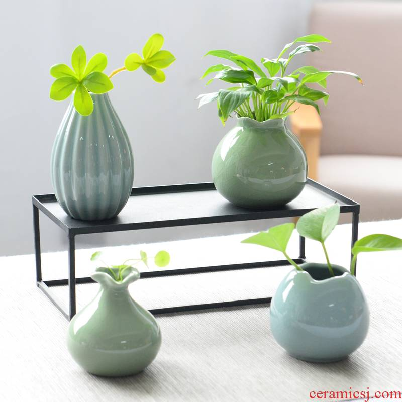 Modern creative little sitting room adornment flowers fresh celadon vase household furnishing articles grass cooper hydroponic flowers in the container