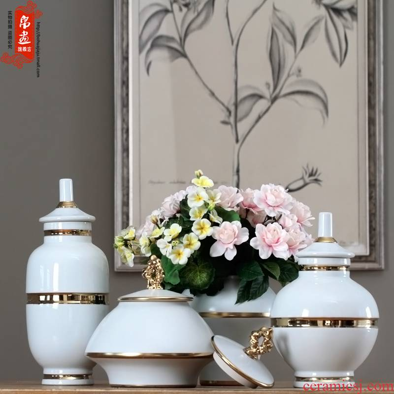 Jingdezhen modern European ideas fuels the flowers in the living room TV wine porch home decoration ceramic pot