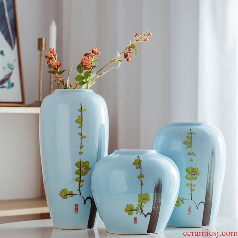 Chinese style decorative vase big flower arranging flowers is the sitting room porch place Chinese wind of jingdezhen ceramics by hand