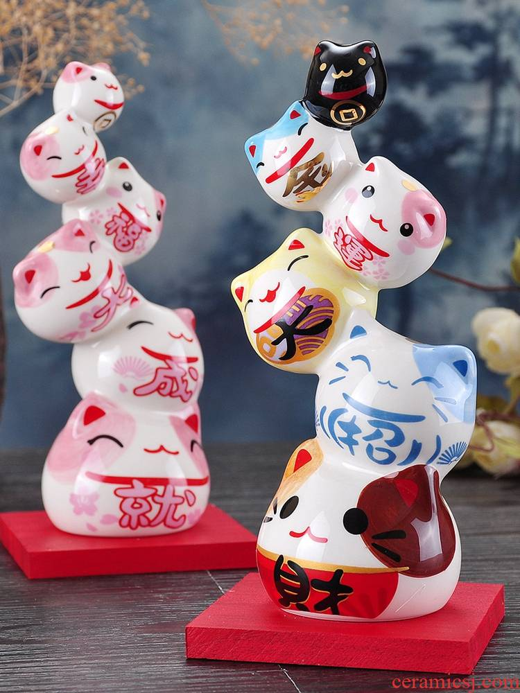 Stone workshop trumpet plutus cat furnishing articles ceramic opening gifts home office desktop adornment birthday gift