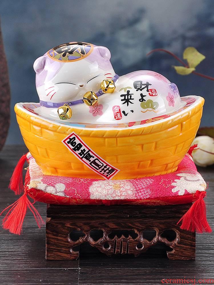 Piggy bank ceramic household Piggy bank creative practical birthday girl girl trumpet plutus cat furnishing articles