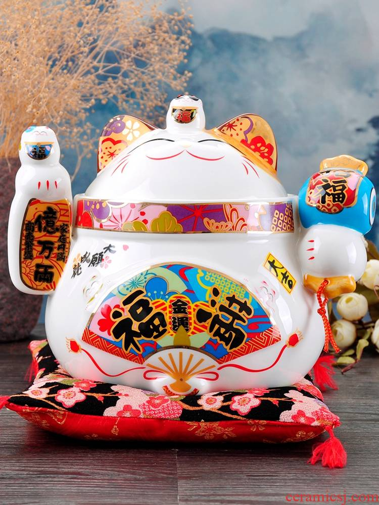 Stone workshop plutus cat furnishing articles to his new house a housewarming gift large - sized receive ceramic pot candy jar and joyful