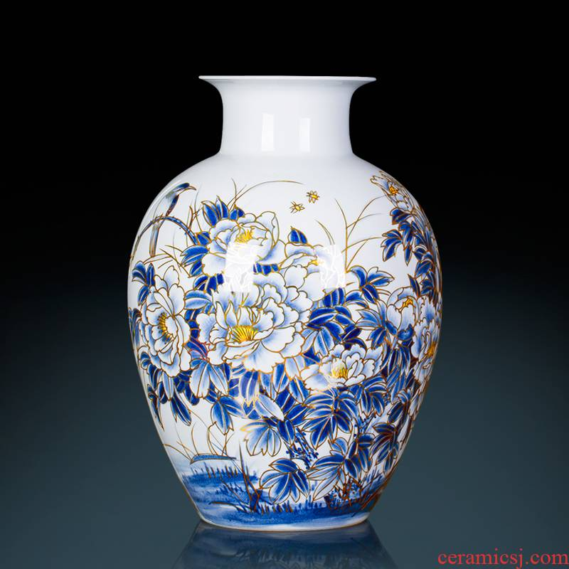 Famous master of jingdezhen ceramics hand - made paint large blue and white porcelain vase peony Chinese sitting room adornment is placed