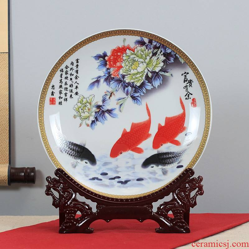 Jingdezhen ceramics hang dish decoration as sit home background plate decoration plate of furnishing articles