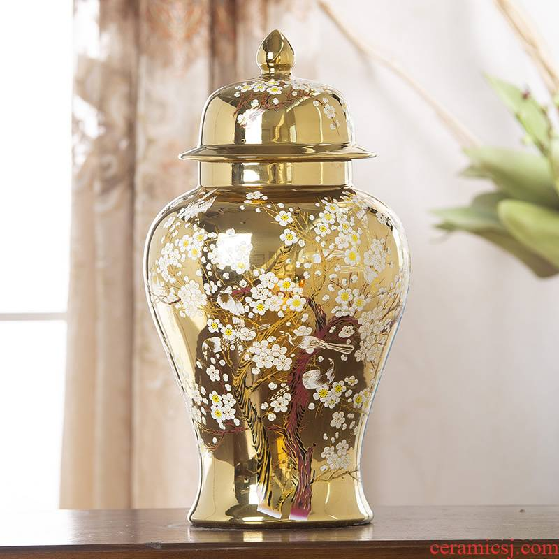 General jingdezhen ceramic pot sitting room place vase European golden light key-2 luxury home large soft adornment arranging flowers