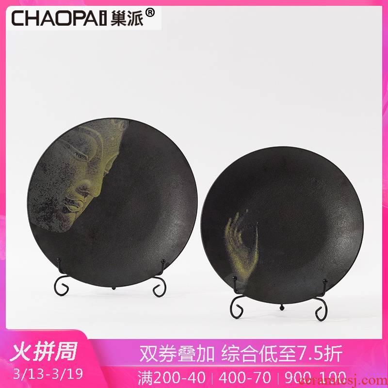 New Chinese style ceramic plate of zen bodhisattva furnishing articles home sitting room TV ark, study porch desktop soft adornment