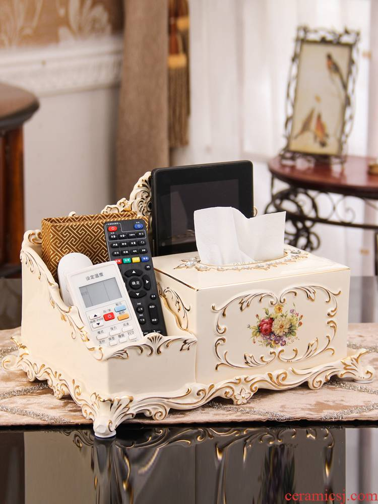 European ceramic multi - function tissue box creative desktop accessories receive home furnishing articles sitting room tea table smoke box