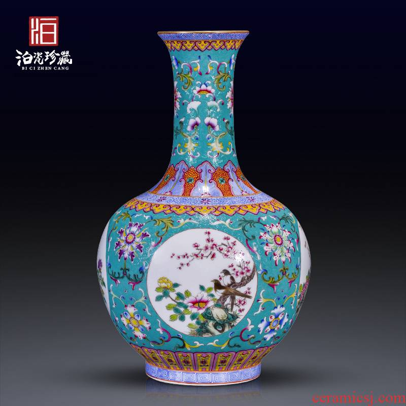 Grilled jingdezhen ceramics green flower window vases, sitting room of the new Chinese style household decorations collection furnishing articles