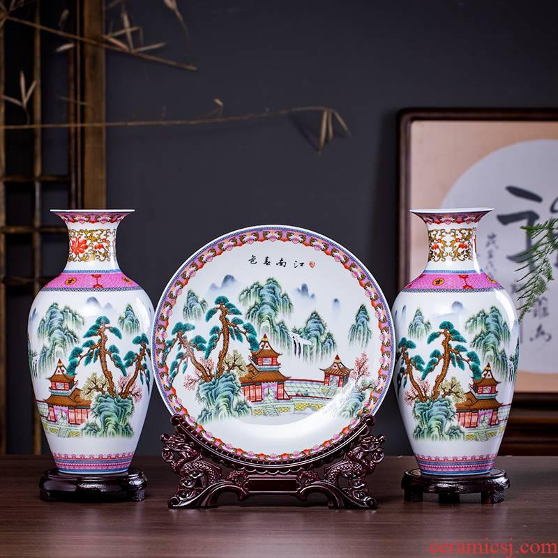 Three - piece suit of jingdezhen ceramics vase furnishing articles furnishing articles of Chinese style household decorates sitting room wine ikebana arts and crafts