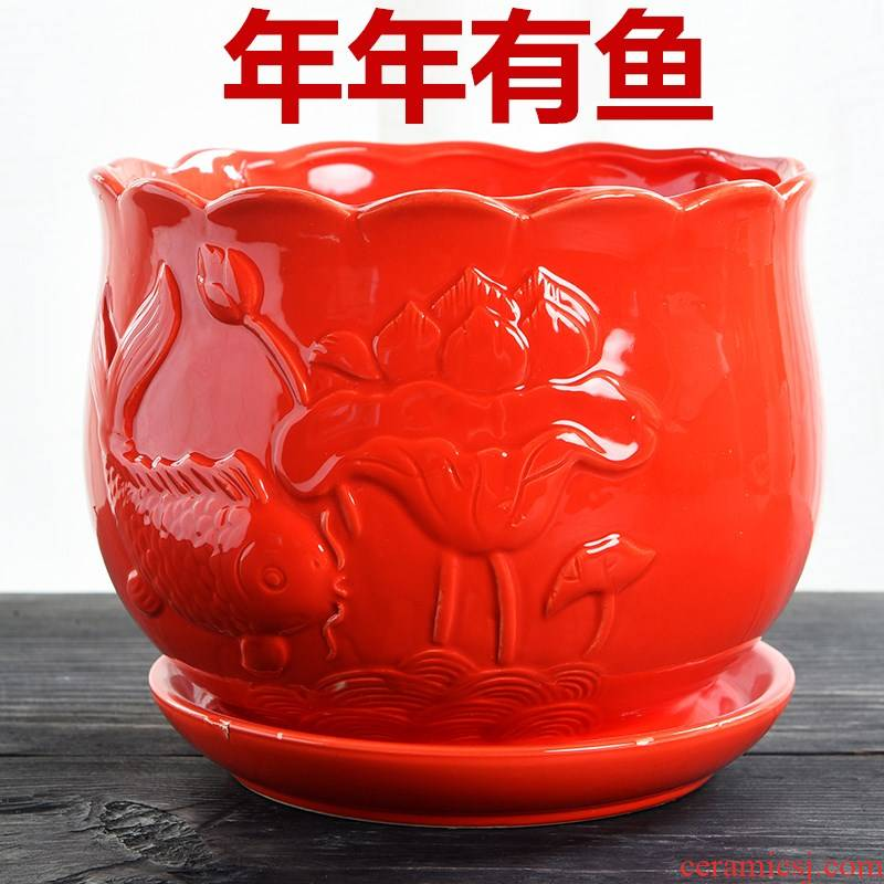 Red flower pot with ceramic tray was simple Chinese wind large household green plant new big Red money plant flower pot
