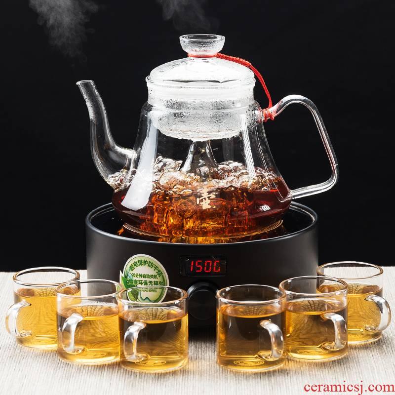 NiuRen heat - resistant household teapot the thickening glass pot of tea, the electric TaoLu steaming kettle pu 'er tea set