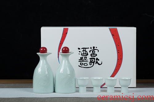 Jingdezhen shadow blue small wine goblet suit household archaize ceramic points liquor bottle thickening creative hip flask