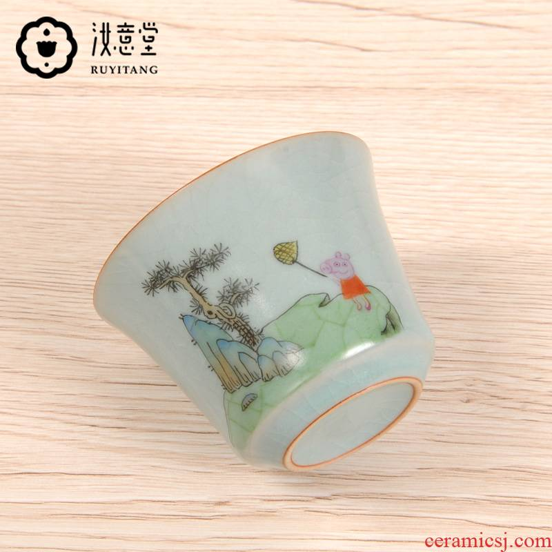 Jingdezhen ceramic piggy paggy social man page trill web celebrity your up teacup master single cup sample tea cup