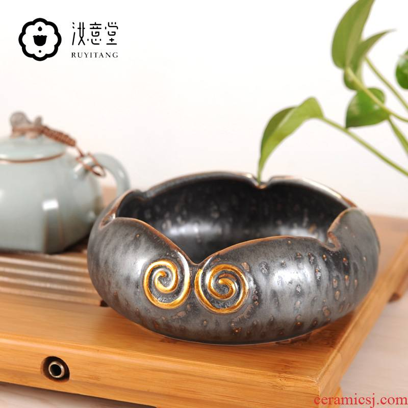 Creative ceramic ashtray large gold collar office sitting room tea table household contracted style restoring ancient ways move trend