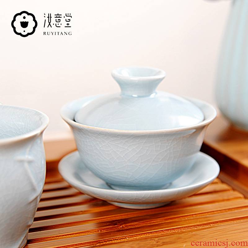 Your up three just covered bowl bowl three cups just ceramic bowl hand grasp pot of kung fu tea tea bowl three cups