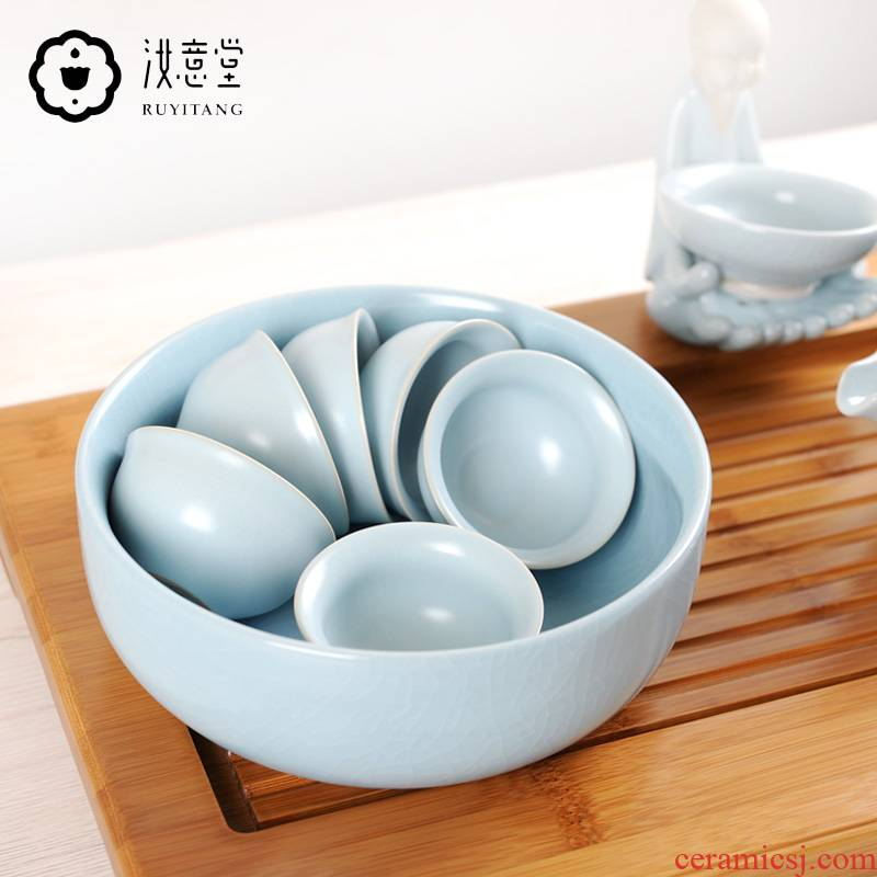 Your up tea to wash to large household ceramic wash water jar Your porcelain writing brush washer cup kung fu tea accessories tea sea restoring ancient ways