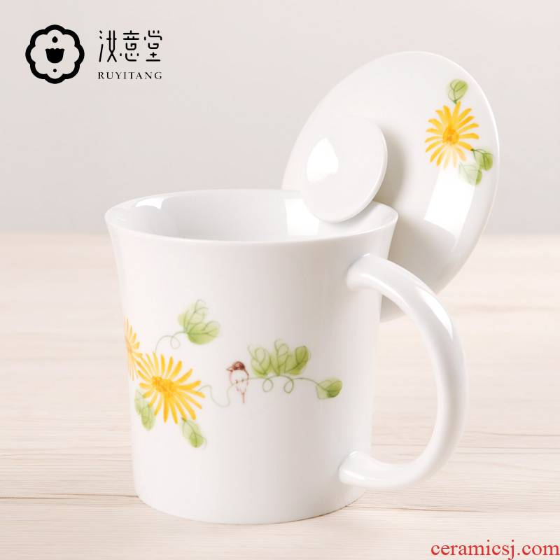 Creative ceramic keller cup with cover with filtering contracted home office to ultimately responds a cup of tea cups separation