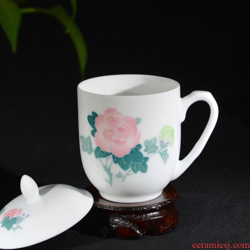 Liling ceramic cup with cover cup of pure hand - made office tea cup victory household porcelain cup gift cup can be customized