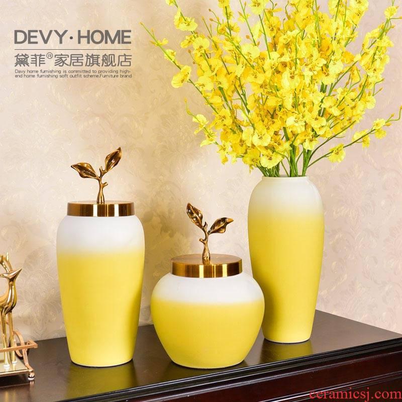 Modern light much creative ceramic vase furnishing articles new Chinese flower arranging jingdezhen sitting room tea table manually large vase