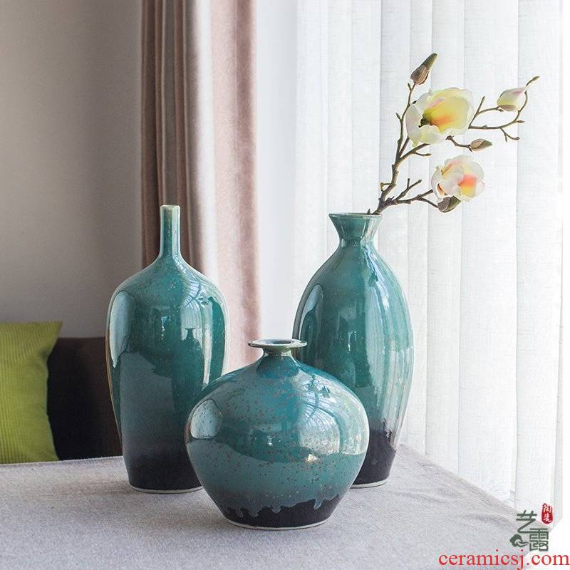 Manual household vase desktop sitting room place jingdezhen ceramics art Chinese dried flower simulation flower flower
