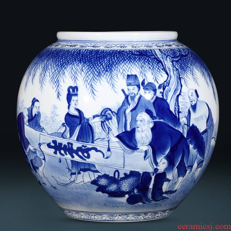 Jingdezhen ceramics hand - made swig of blue and white porcelain vase flower arrangement of modern Chinese style living room home furnishing articles