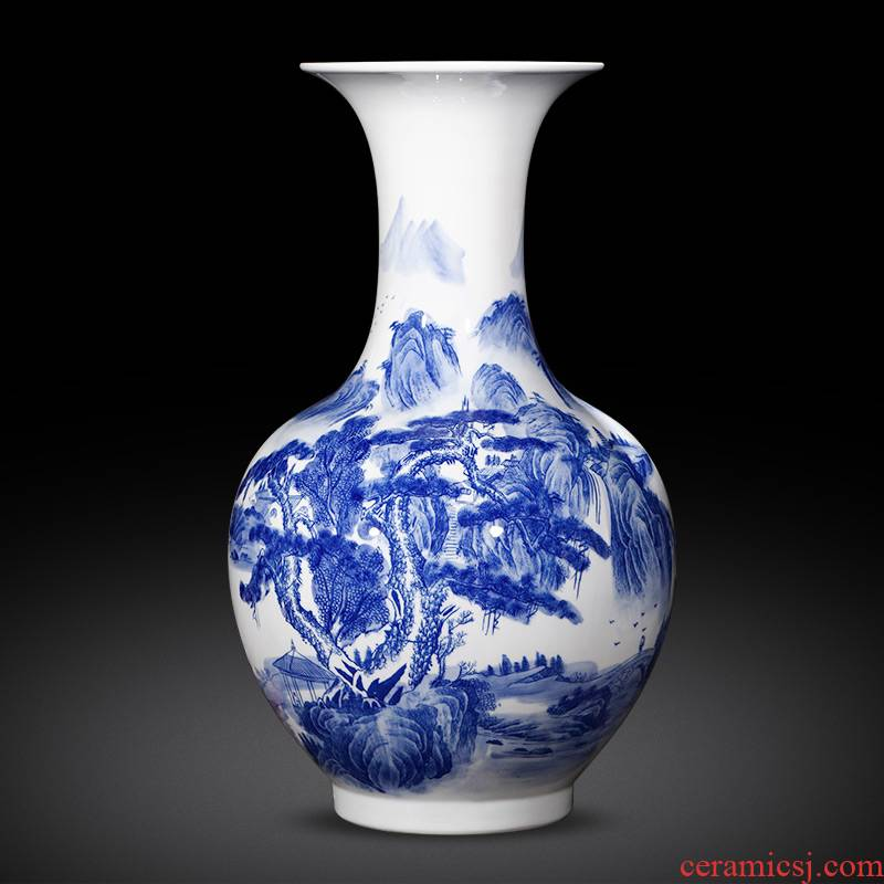 Jingdezhen ceramics antique landscape painting of large blue and white porcelain vase flower Chinese style household adornment furnishing articles
