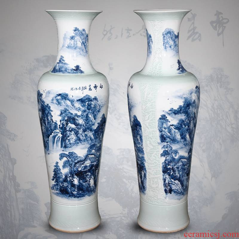 Jingdezhen ceramics hand - made its of large blue and white porcelain vase 1.4 meters 1.6 meters of new Chinese style living room furnishing articles