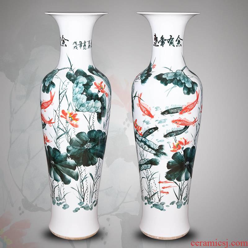 Jingdezhen ceramics hand - made landing big vase is 1.4 m Chinese style villa living room TV ark, large furnishing articles