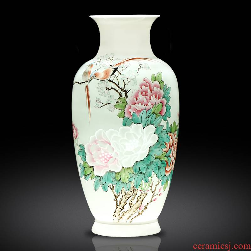 Jingdezhen ceramics master hand carved vases, flower arranging new Chinese style living room porch home furnishing articles