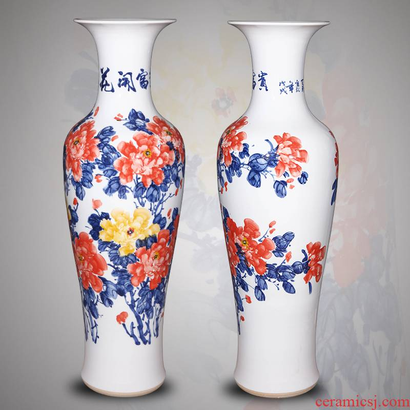 Jingdezhen ceramic hand - made 1.4 meters large vase Chinese style living room porch TV ark, furnishing articles housewarming gift