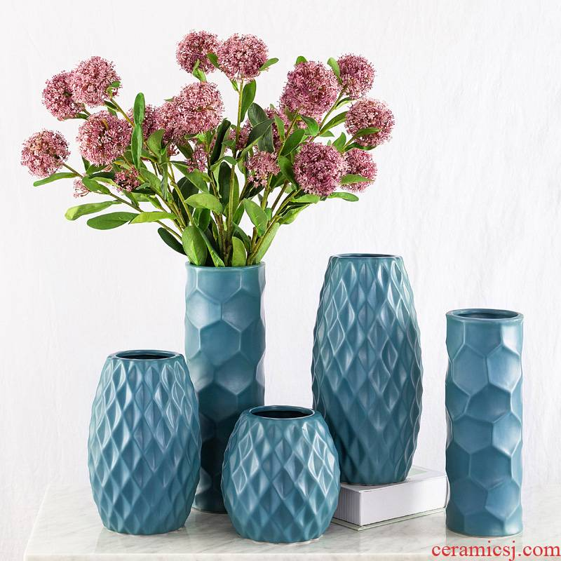 Contracted and I diamond mesh ceramic vase hydroponic Nordic dried flower arranging flowers floral furnishing articles table decoration flowers