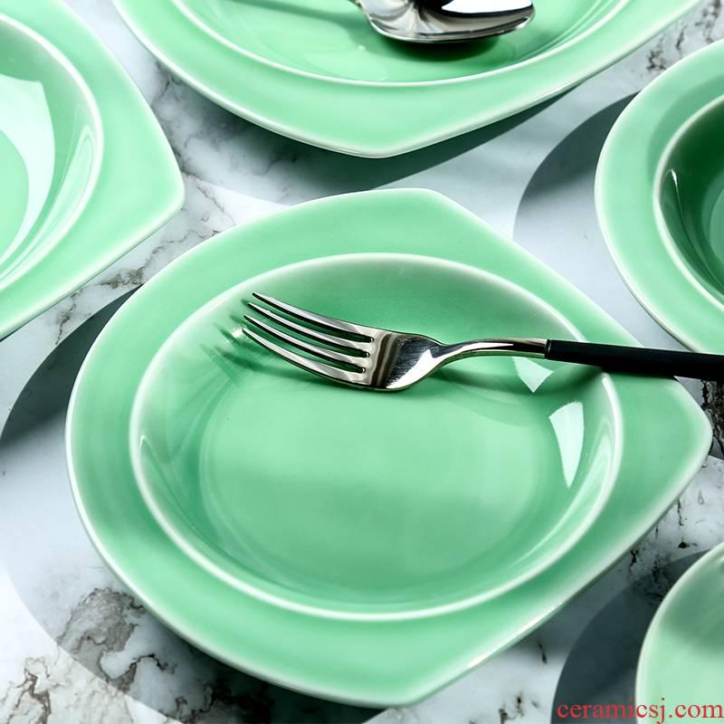 Longquan celadon plate creative irregular food dish ceramic household Chinese tableware breakfast steak pan large plate