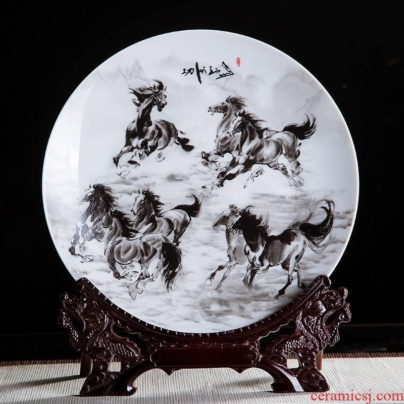 Jingdezhen ceramics ink eight steeds 10 inch decorative hanging dish sit home rich ancient frame office furnishing articles