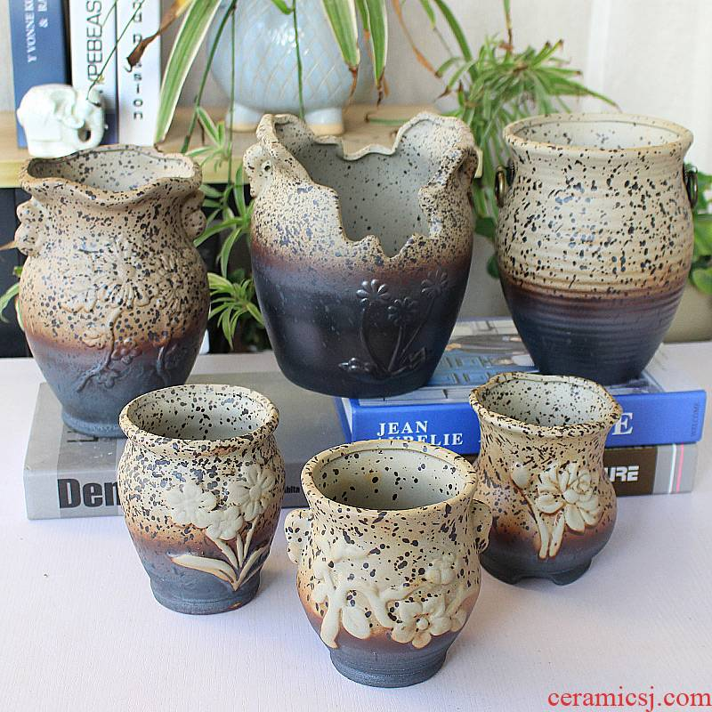 Fleshy flower pot size basin of the old running the high permeability restoring ancient ways contracted zhuang zi clay coarse pottery flowerpot extra large ceramic