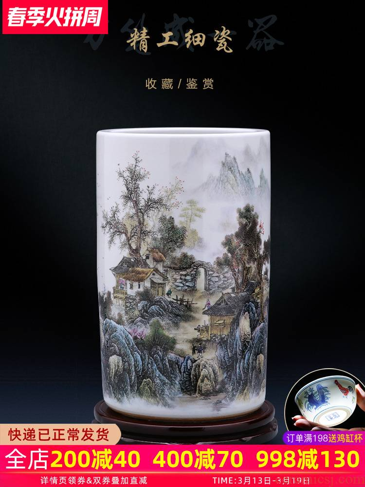 Quiver of jingdezhen ceramics vase painting and calligraphy calligraphy and painting scroll cylinder barrel landing a large sitting room household act the role ofing is tasted furnishing articles
