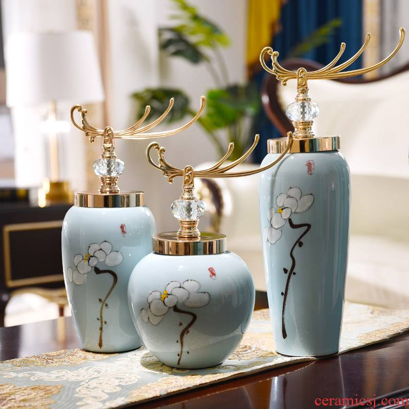 European ceramic three - piece furnishing articles of Chinese style restoring ancient ways creative arts and crafts vase TV ark home sitting room adornment