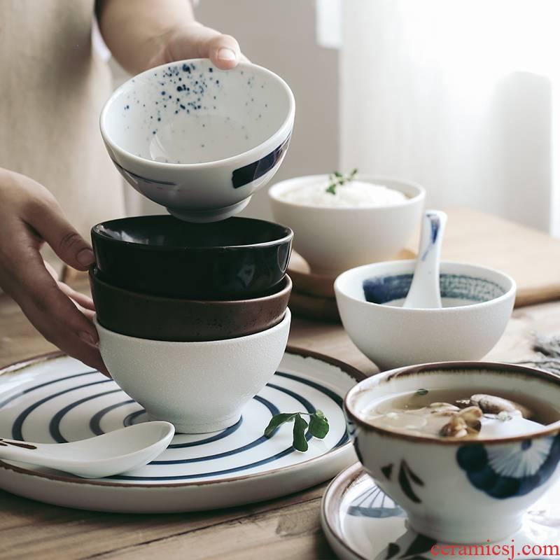Tao soft Japanese hand - made ceramic home eat rice bowl bowls bowl bowl a single bowl of soup bowl Korean rice bowl