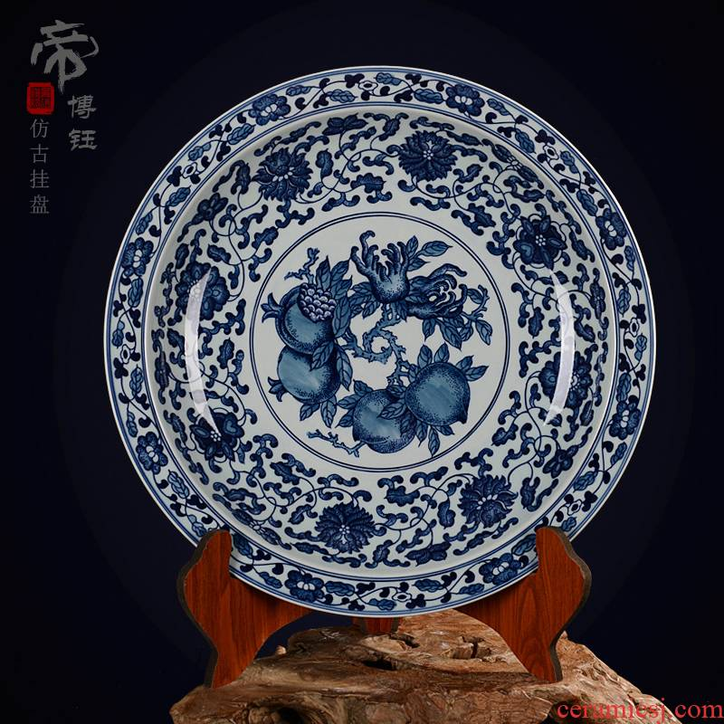 Jingdezhen ceramic decoration plate sit plate hanging dish hand - made antique blue - and - white pomegranate porcelain crafts are the things the children