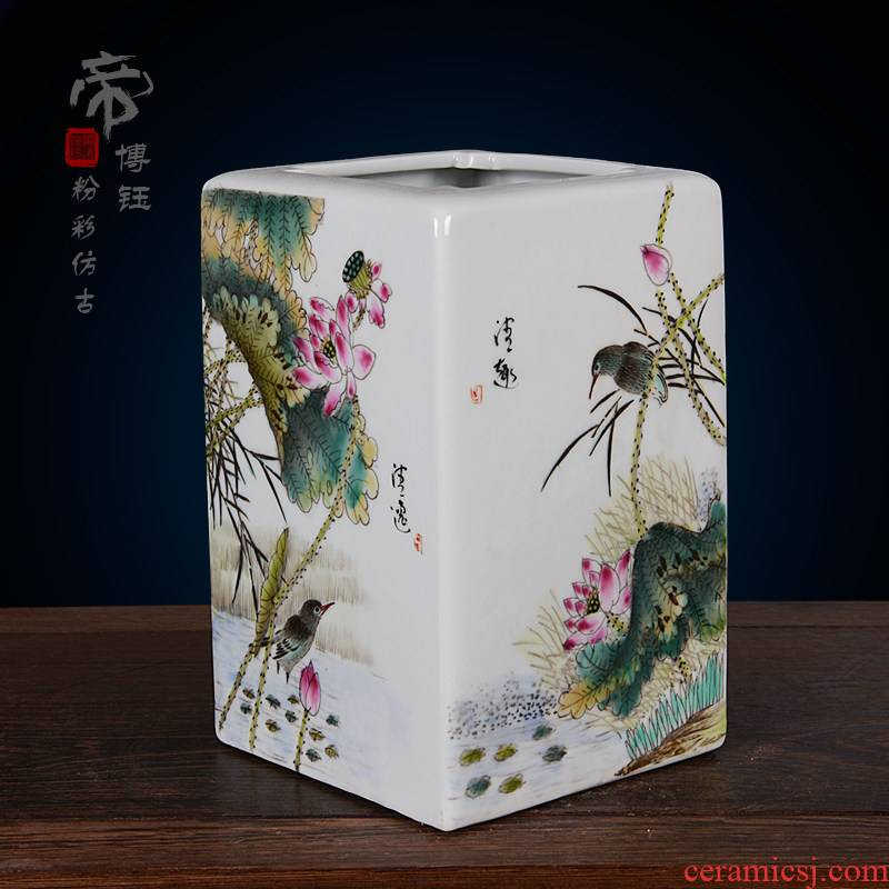 Jingdezhen ceramics imitation the qing the qing qianlong pastel hand - made lotus boring vase archaize home handicraft furnishing articles