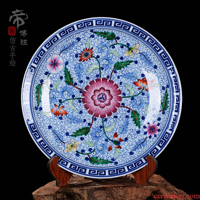 Archaize hang dish of blue and white porcelain of jingdezhen ceramics decoration classical Ming and the qing dynasties home crafts are sitting room sat a plate