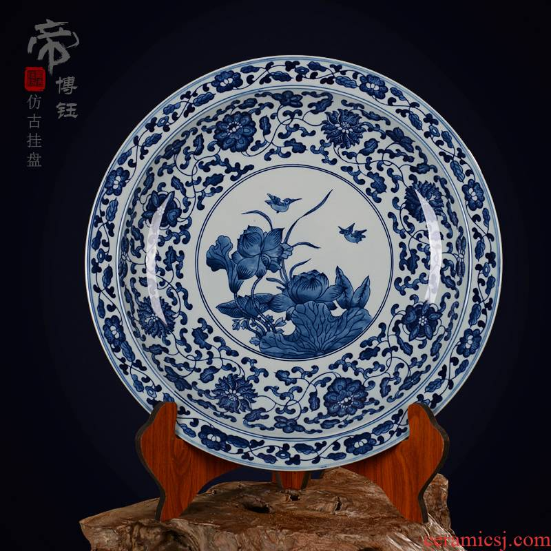 Jingdezhen ceramic decoration plate sit plate hanging dish hand - made archaize porcelain crafts are blue and white lotus lotus pond moonlight